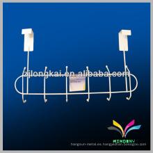 6 colgantes ganchos blanco toalla metal baño rack