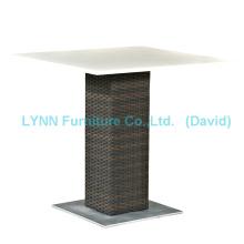 Outdoor Rattan Table Quartz Stone Table Top