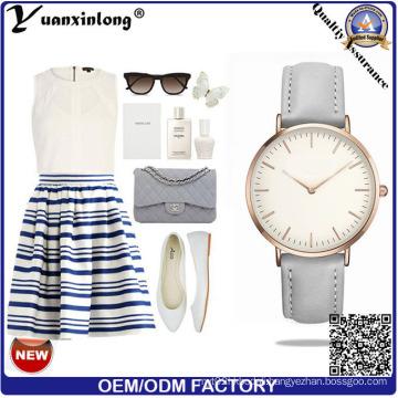Yxl-595 2016 Brand Quartz Watch Women Fashion Rose Gold Arc Big Head Casual Lady Leather Cheap Watch