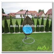 Audu Wicker Swing Chair,Swing Chair With Blue Cushion