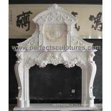 Fireplace with Stone Marble Sandstone Limestone Granite (QY-LS387)