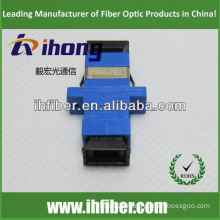 SC simplex singlemode fiber optic adapter, Blue housing, black caps