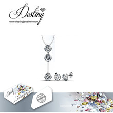 Destiny Jewellery Crystal From Swarovski Set Characteristic Pendant and Earrings