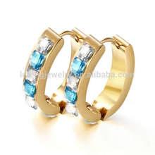 Hot sale 24k gold hoop mens square huggie earrings