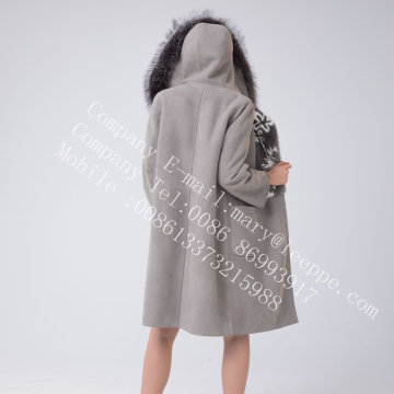 Hooded Spain Merino Shearling Coat For Lady