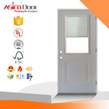 1-Panel half Lite Mini-Blind Primed White Steel Prehung Front Door