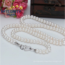 90cm AAA Qualtiy 8-9mm Bread Round Freshwater Pearl Fashion New Design Pearl Necklace