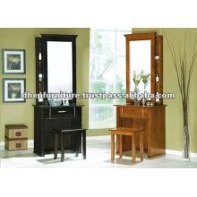 Mesa de tocador de madera con taburete y espejo