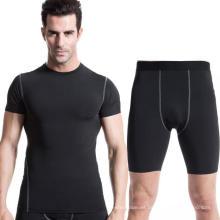Hombres Entrenamientos Ropa de manga corta Camiseta y pantalones cortos Pantalones de deportes de fitness