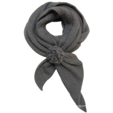 Women Fashion Acrylic Mohair Knitted Floral Scarf (YKY4184)