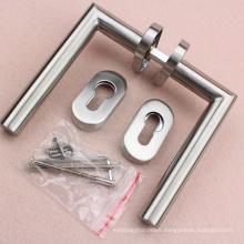 Satin tubular lever handle on rose popular in American