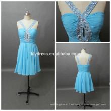 Официальное новейший дизайн синий милая декольте сшитое мини коктейль партии CD073 шифоновое платье узоры