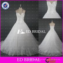 2017 ED Bridal Elegant Sweetheart Plissado Cetim Lace-Up Bodice Lace Appliqued Vestido de casamento de Tulle
