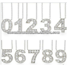 Get Lucky CZ Number pendant Necklace stainless stel Jewelry Manufacturer