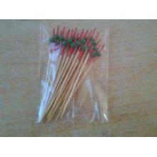 Tête rouge avec perle verte Bamboo Stick