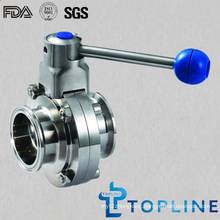 Sanitary Stainless Steel Butterfly Valve with Tri-Clamp Ends