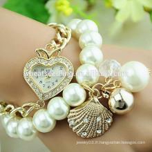 Montre en cristal à la perle en chaîne à la mode 2014