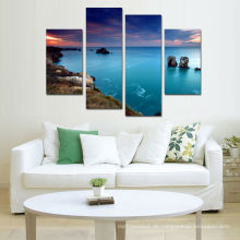 4 Stücke Segeltuch-natürliche Landschaft-Wand-Abbildung