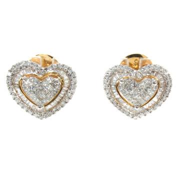 Heart Earrings 925 Silver Jewelry 18k Gold Plated