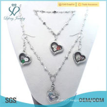 Factory Price Fasion 20mm Cheap Crystal Silver 316L stainless steel heart floating locket Earring bracelet Necklace Jewelry Set