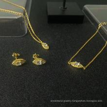 s925 sterling silver jewelry set gold-plated diamond charm eye necklace bracelet earrings
