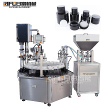 Factory price cosmetic cream toner discharge makeup water essential oil small bottles jars filling capping machine line
