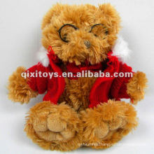 newest lovely teddy plush toy bear with glasses and coat