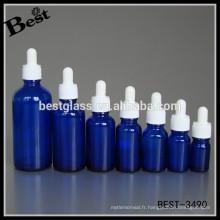 5-100 ml bleu ambre vert clair huile essentielle flacon compte-gouttes en verre avec inviolable enfant preuve bouchon en verre pipette, échantillon gratuit