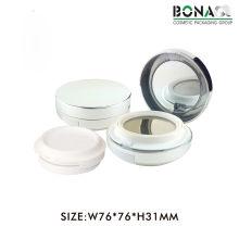 Nova moda 5g plástico vazio rodada magnética cosmética compacta