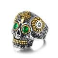 Mens Vintage Kristallschädel Ring aus Edelstahl