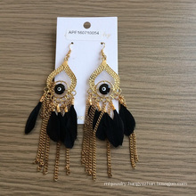 Feather Earrings with Eyes and Metal Tassel