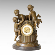 Clock Statue 3 Children Bell Bronze Sculpture Tpc-036