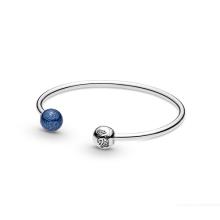925 sterling silver silver blue two-color earth open bracelet sea heart starry fairy tale diy beaded bracelet female pandora