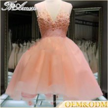 Kundenspezifischer Großhandels-Tulle-Champagner-Rosa sleeveless kurzer Luxuxwulst-Spitze-Abendkleid