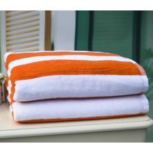 Hotel-Poolhandtücher aus 100% Baumwolle mit gelben und weißen Streifen