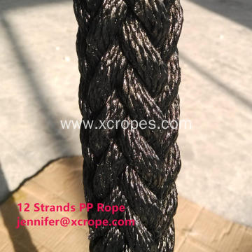 12 Strands PP Rope with Black Color