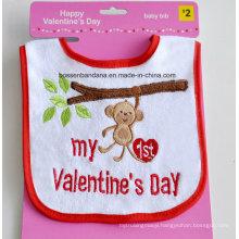 Customized Design Valentine′s Day Cotton Embroidered Baby Bib