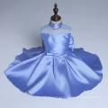 Azul frisada de alta classe flor meninas vestido de casamento festa de natal crianças de dança ano novo crianças novos estilos de varejo & atacado