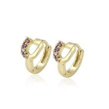 28621 xuping hot sale fashion 14k gold color synthetic zircon women's hoop earrings