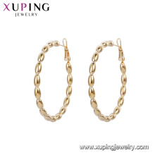 93147 Best seller oval shape beads hoop 18k gold color copper alloy hoop earrings for ladies