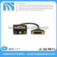 Noir 30cm DVI-D Dual Link Splitter DVI-D Câble mâle vers VGA et RGB