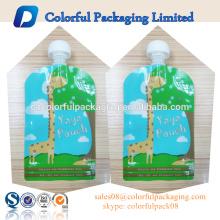 BPA claro stand up pouches 2 zipper food grade grau de fundo plano bolsa de líquido com bico