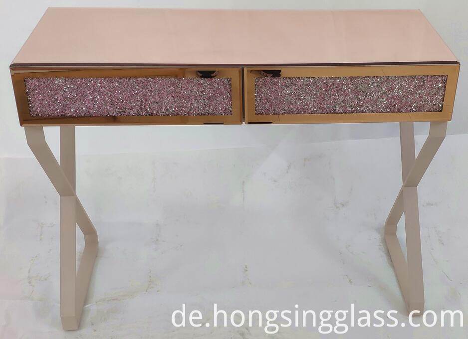 Rose Gold Crushed Diamond Pink Dressing Table Mfrs 005