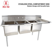 Freestanding Commercial Stainless Steel 3 Three Compartment Sink with Drainboard