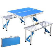 Table pliante extérieure en aluminium léger réglable en hauteur avec organisateur de rangement pour barbecue, fête, camping