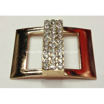 Gold Rectangular Metal Buckles with Rhinestone Centered