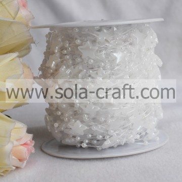 String Pearl Bead Garland Spools with 3MM Round and 12MM Star Beads
