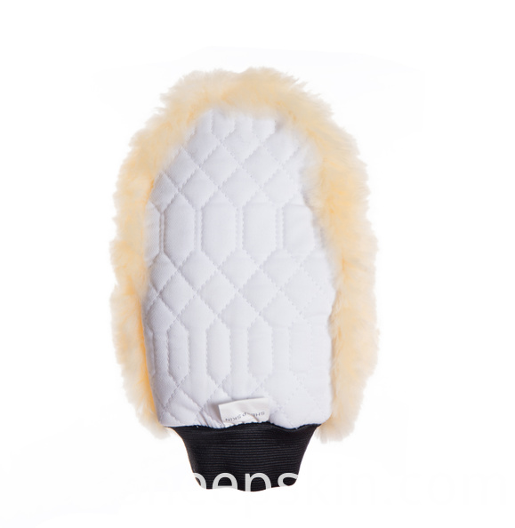 White Quilted with Sheepskin Mitt