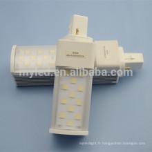 Corps en aluminium, bonne dissipation, lampe à lamelles, plombé à lait, 2 broches G24 / G23 / E27 8w