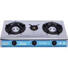 Stainless Steel Gas Stove, Three Burners.